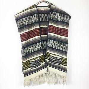 Vintage 70s Vest Mexican Blanket Poncho Fringe L